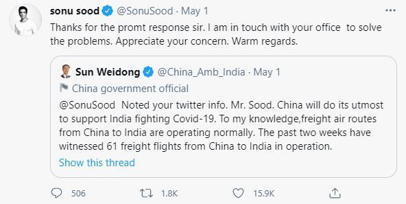 Sonu Sood calls out China
