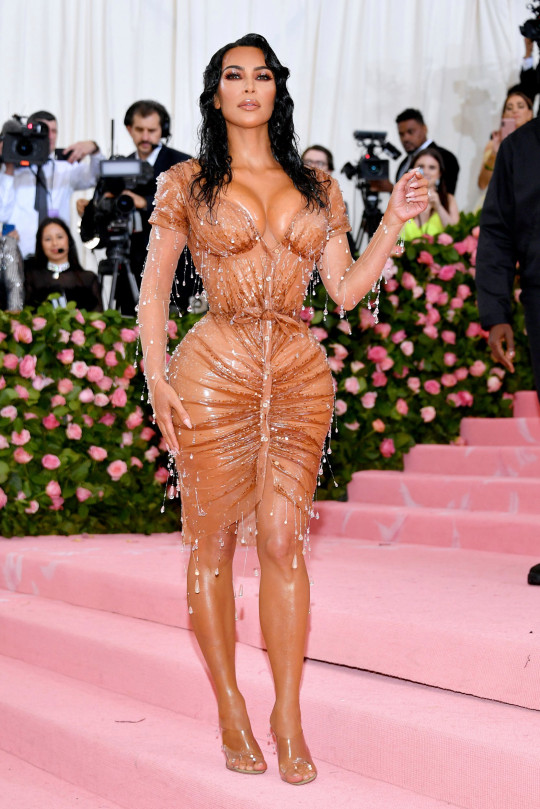 Kim wore couture silicone from Thierry Mugler (Picture: Dia Dipasupil/FilmMagic)